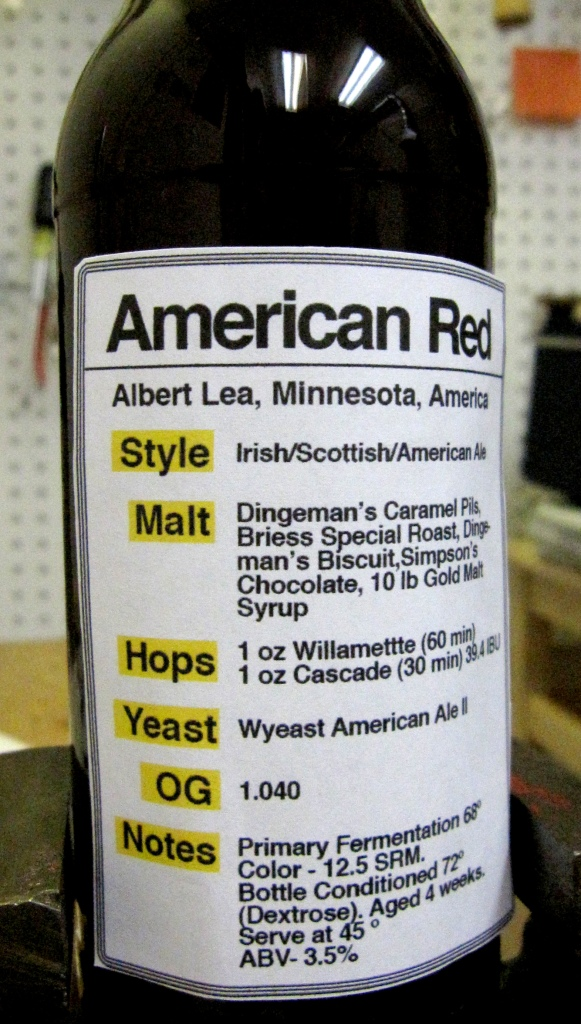 closeup brewer's utility label